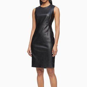 Calvin Klein Vegan Leather Stealth Dress 8